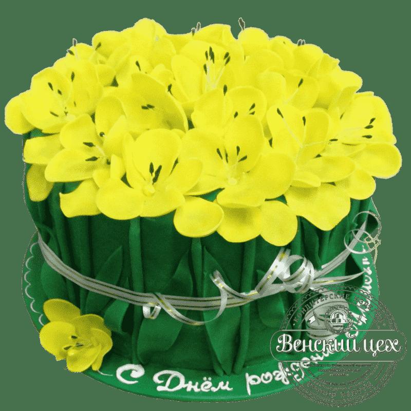 Торт на день рождения «Солнечный нарцисс» №349