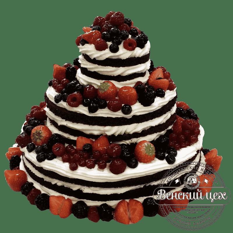 Праздничный торт «Ягоды со взбитыми сливками» №354