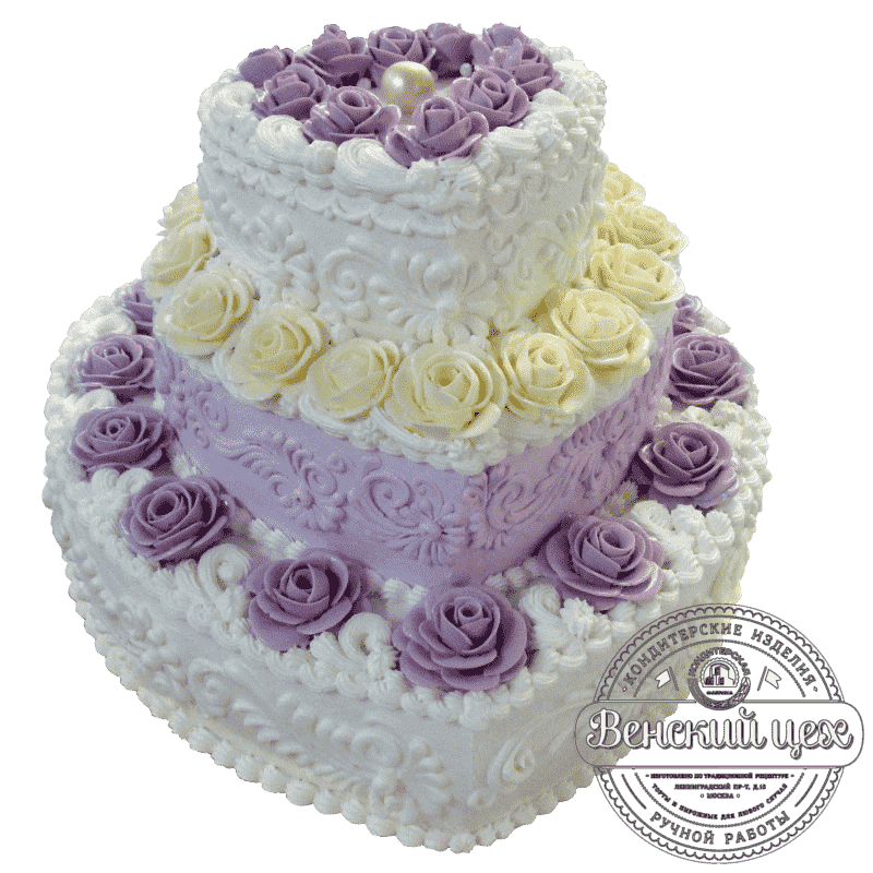 "Торт на свадьбу ""Жемчужное сердце"" №355"