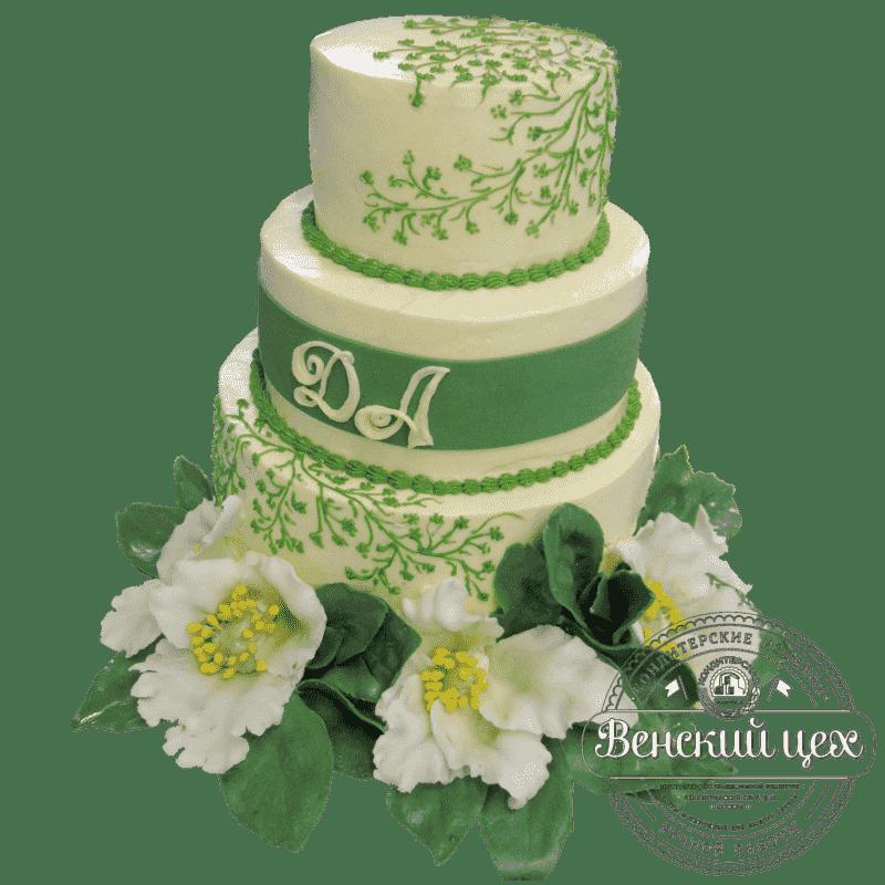 """Торт на свадьбу """"Цветочный узор"""" №379"""