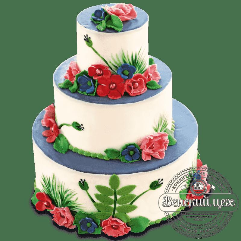 """Торт на свадьбу """"Цветочный луг"""" №382"""