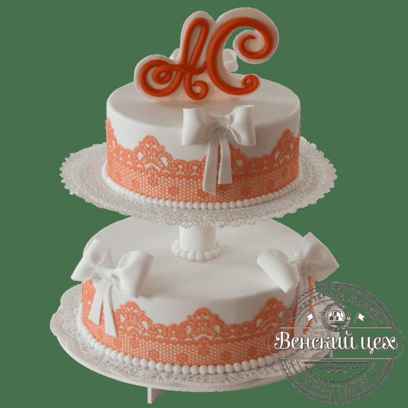 Торт свадебный «Ажур» №394
