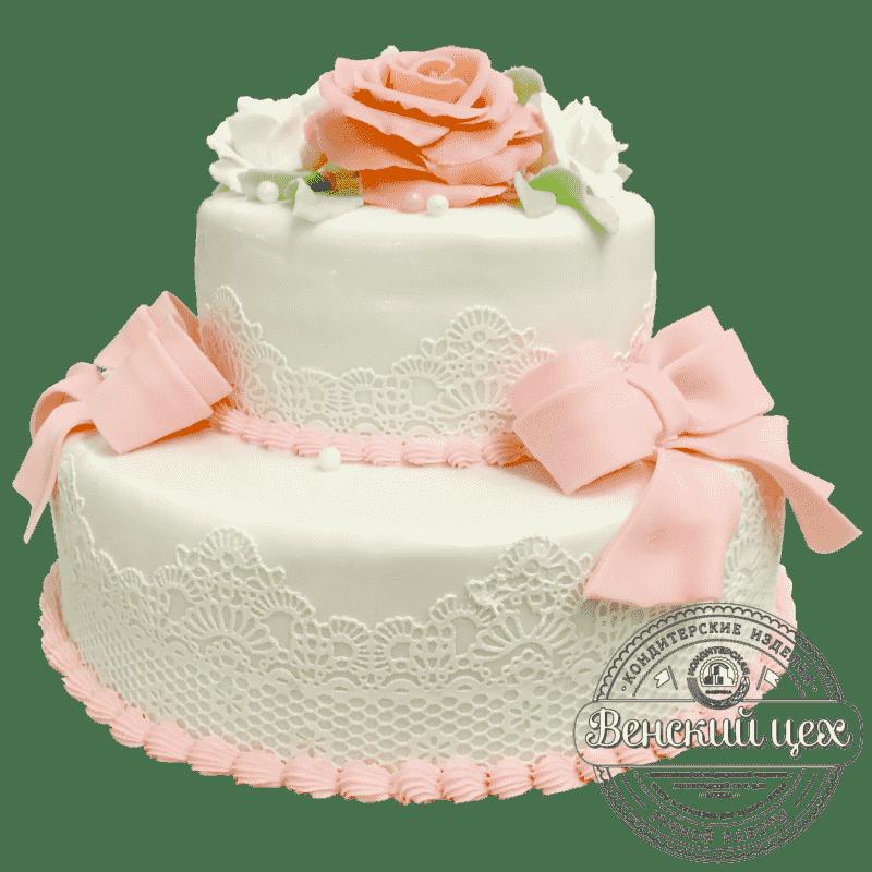 """Торт свадебный """"Белое кружево"""" №1382"""