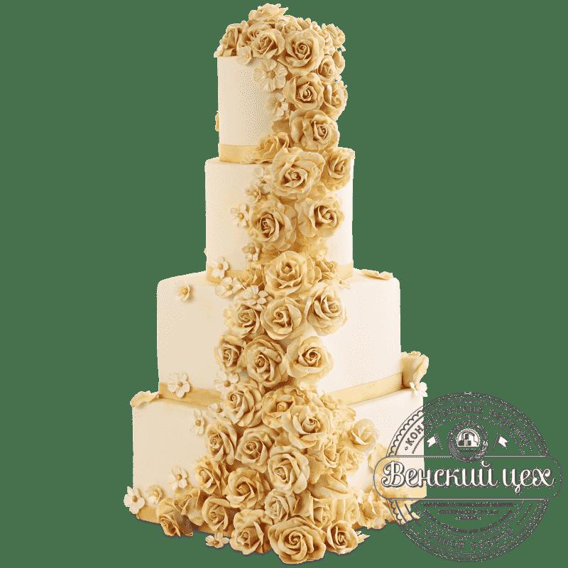 """Торт свадебный   """"Золотые розы"""" № 429"""