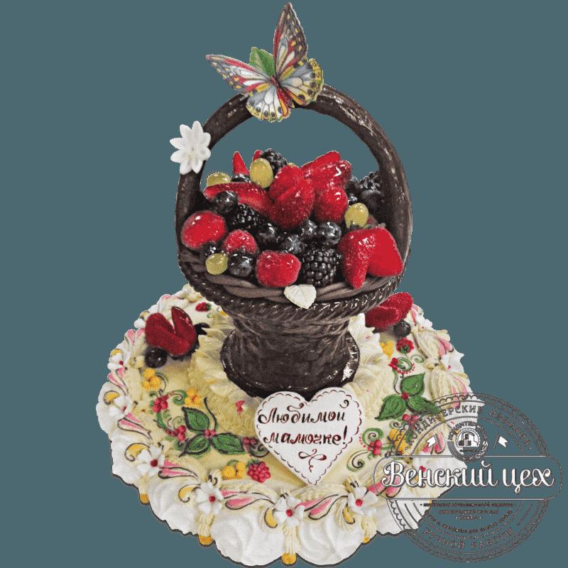 """Торт на день рождения """"Корзина с ягодами"""" № 466"""