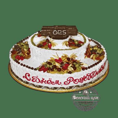 Торт на корпоратив «Фрукты со сливками» №48