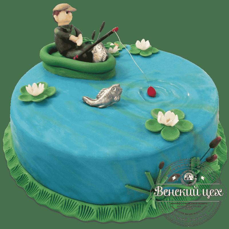 Торт на день рождения «На озере» №480