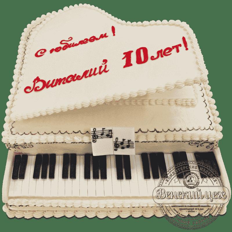 Торт на день рождения «Белый рояль» №523