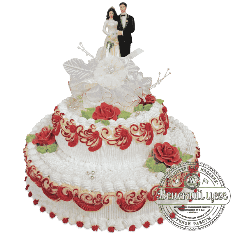Торт свадебный «Алый узор» №547