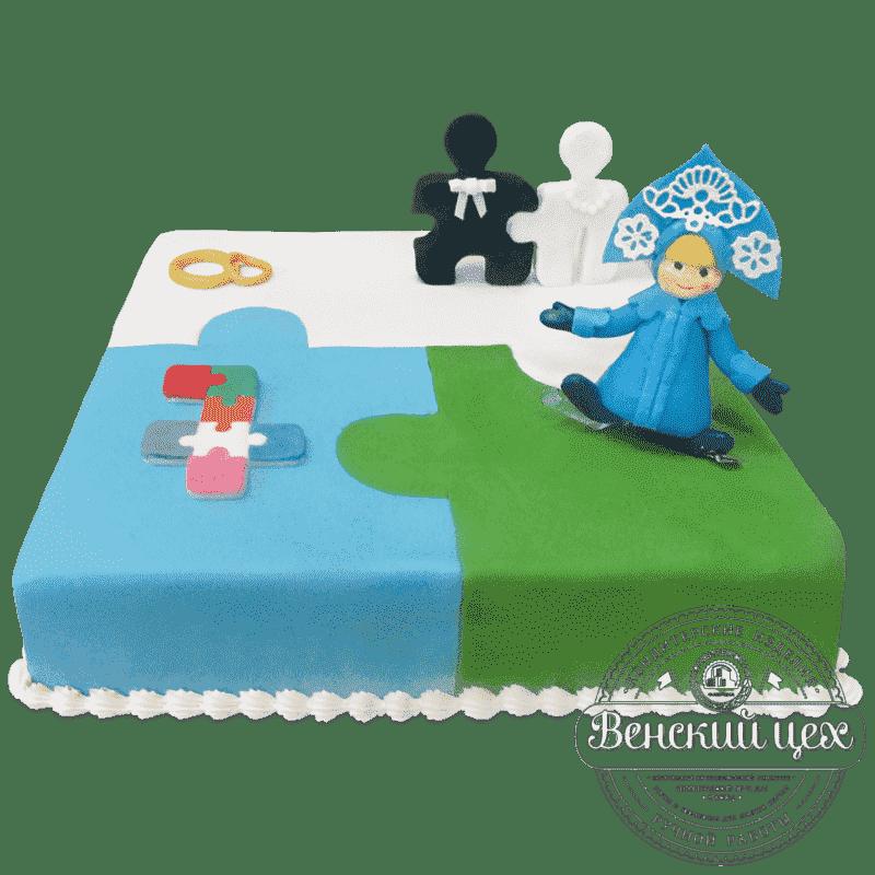"""Торт на годовщину """"Пазл"""" №613"""
