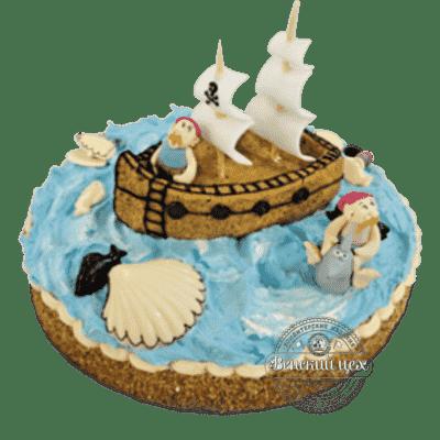 """Торт на день рождения """"Судно с пиратами"""" №66"""