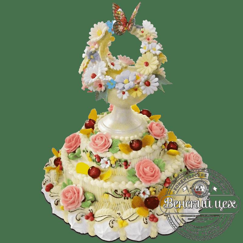 """Торт на день рождения """"Цветочное лукошко""""  №668"""