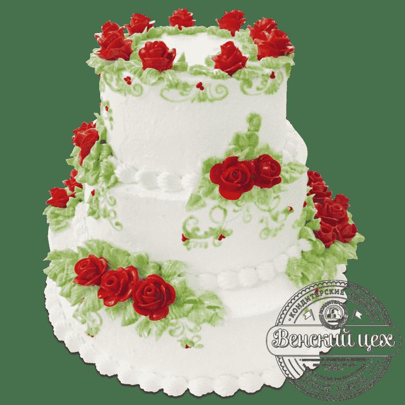 """Торт на свадьбу  """"Красные розы""""  №677"""