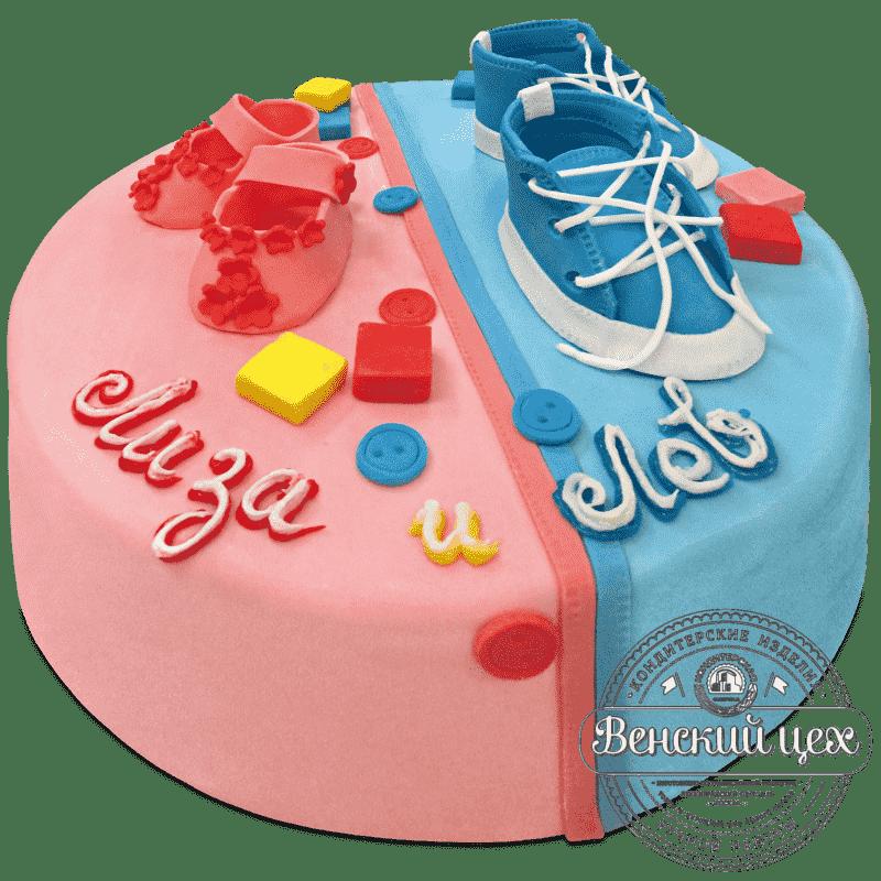 """Торт детский """"Пинетки для близнецов""""  №686"""