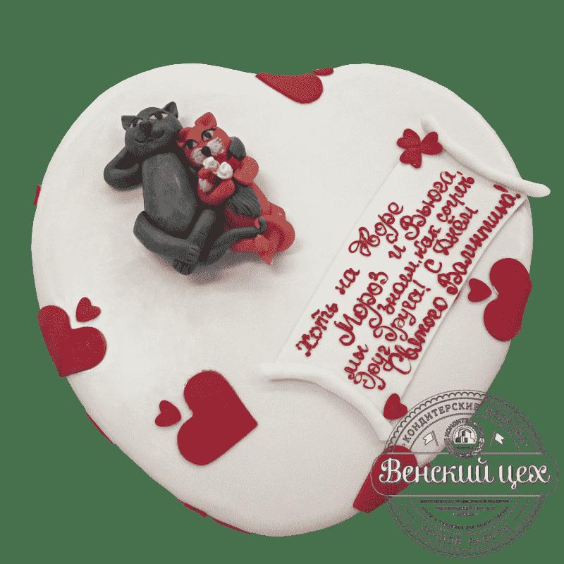 """Торт на праздник """"Влюбленные коты"""" №8"""