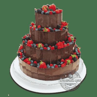 Торт на праздник «Шоколадно-ягодная башня» №1372