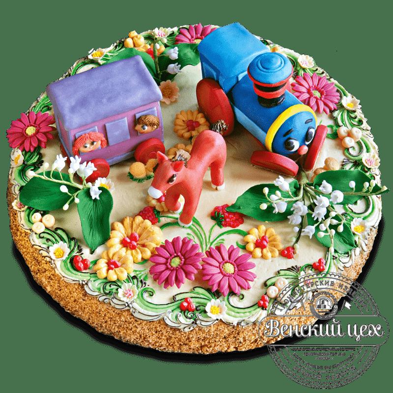 """Торт детский """"Голубой вагончик"""""""