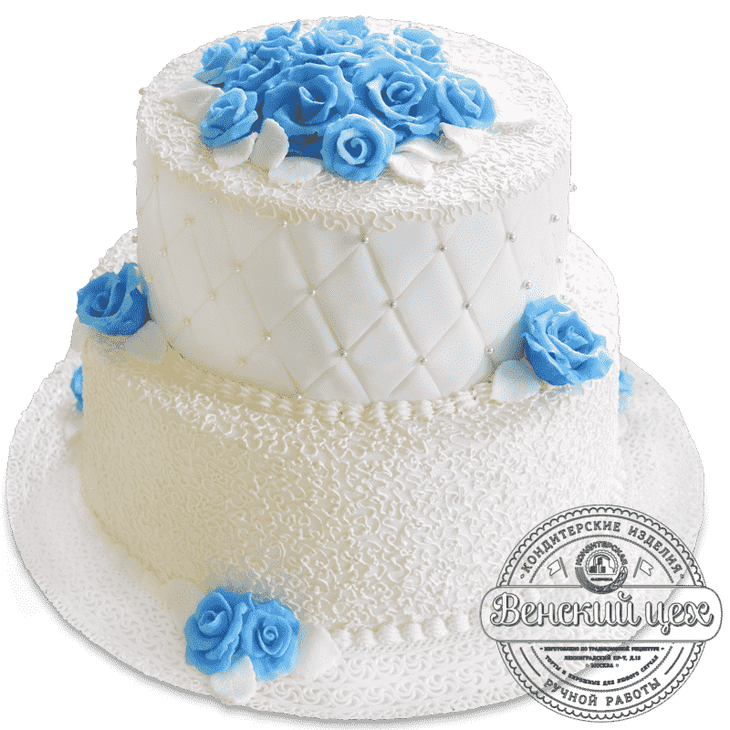 """Торт свадебный """"Голубые цветы"""" №1385"""