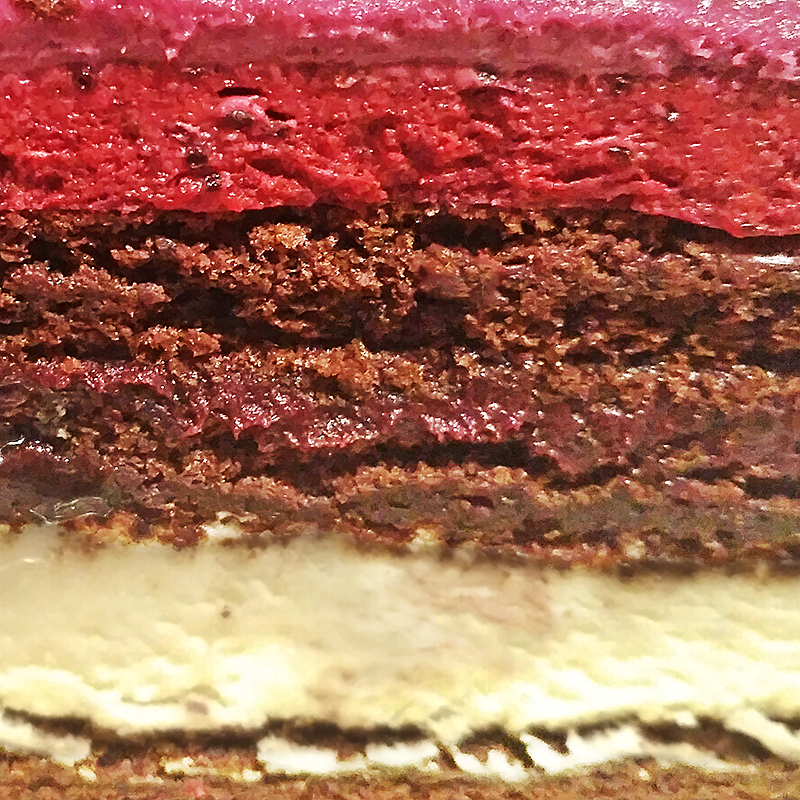Шоколадный бисквит с ванильным и черносмородиновым муссом, с ганашем из черной смородины #2