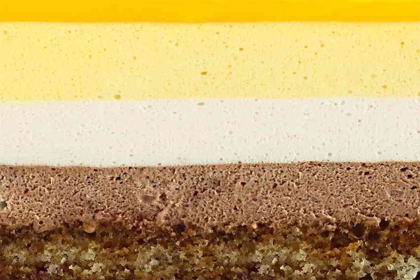 Пьемонт (классический бисквит с кофейной пропиткой и три нежнейших мусса: шоколадный, малиновый и манго-маракуйя)