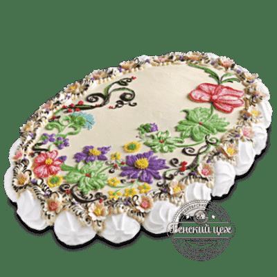 Торт на день рождения «Праздничные цветы» №1374