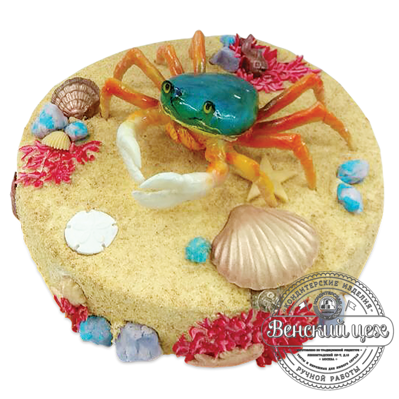 """Торт на день рождения """"Краб на морском дне"""" №1959"""