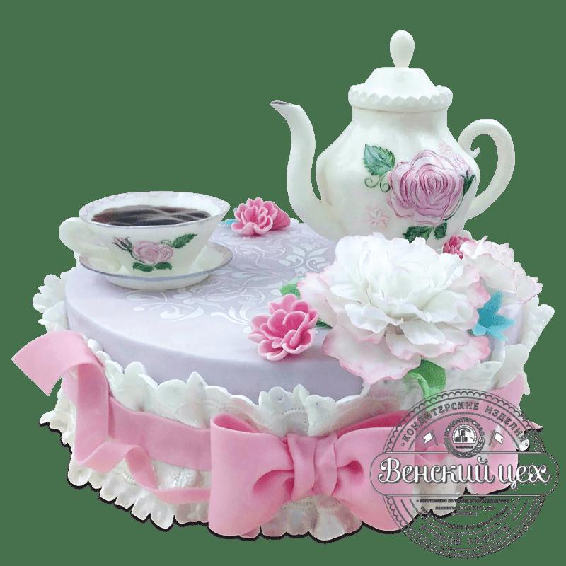 """Торт на праздник """"Чайный сервиз"""" №1964"""