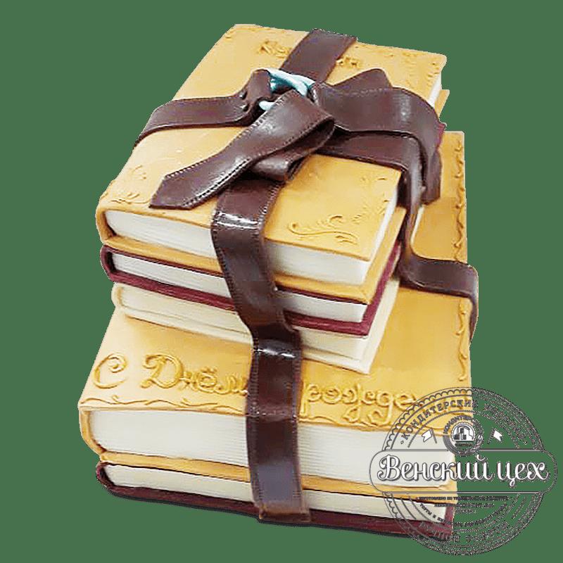 """Торт на день рождения """"Книжная стопка"""" №1970"""