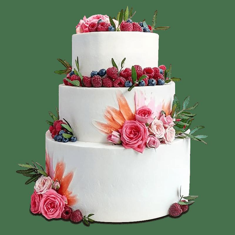 Торт свадебный с живыми цветами и ягодами №1997