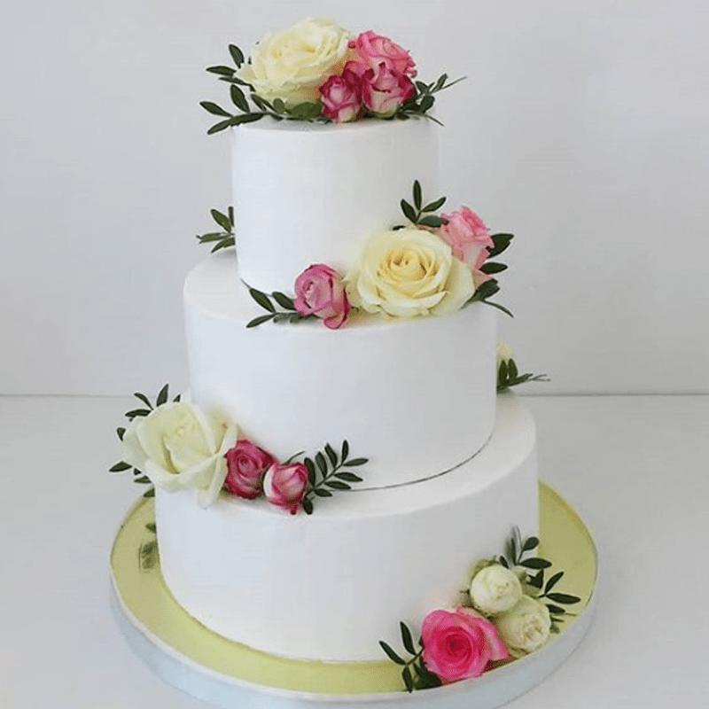 Торт свадебный с живыми цветами №1998