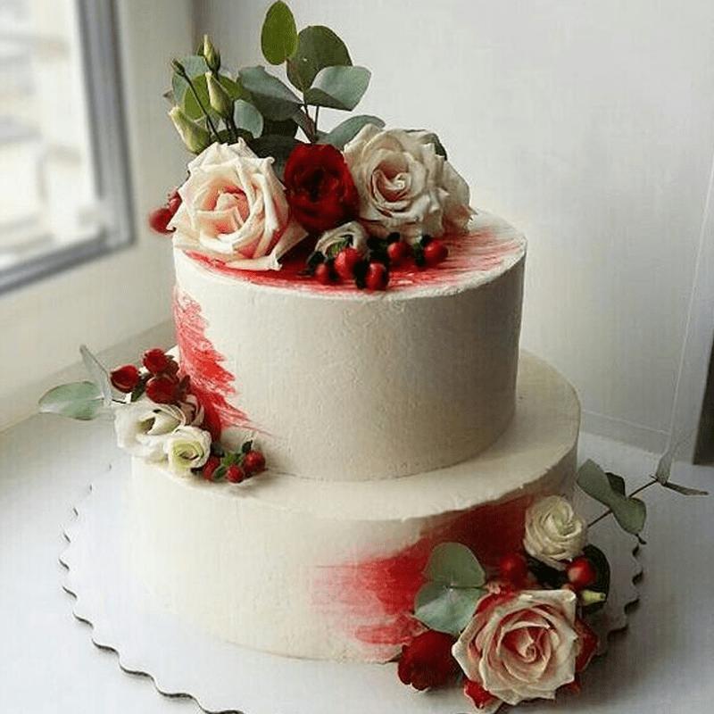 Торт свадебный с живыми цветами №1999