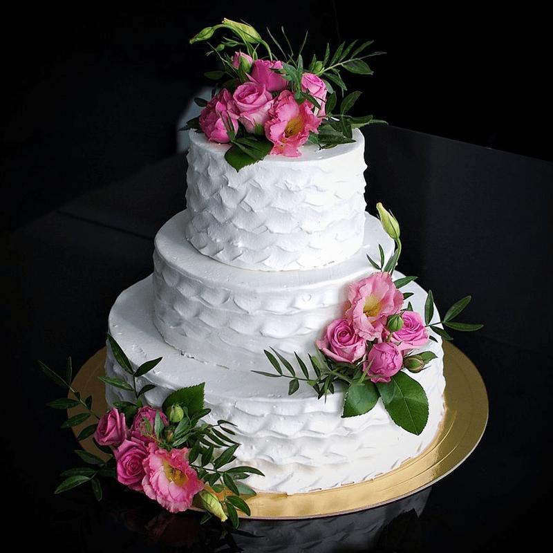 Торт свадебный с живыми цветами №2001