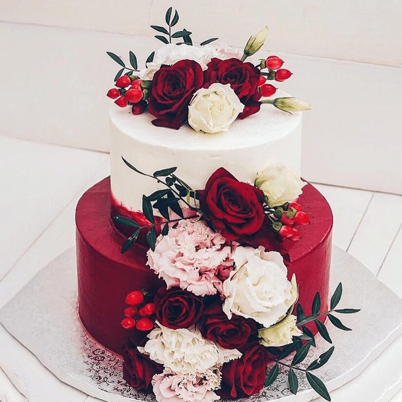 Торт свадебный с живыми цветами №2002