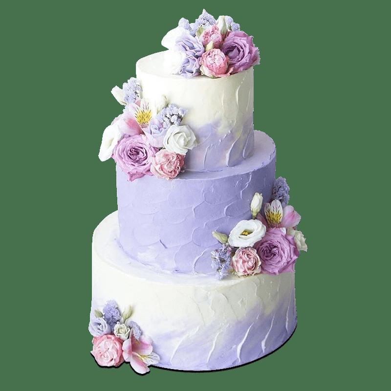 Торт свадебный с живыми цветами №2005