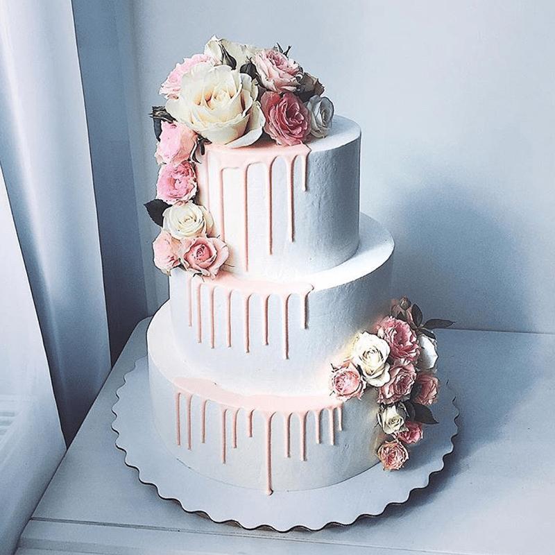 Торт свадебный с живыми цветами №2006