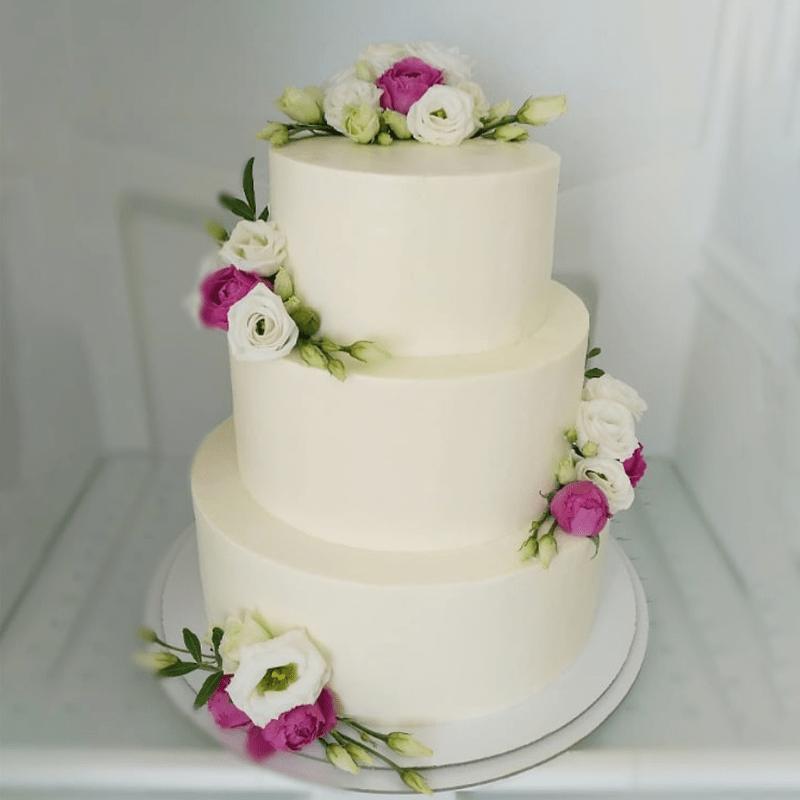 Торт свадебный с живыми цветами №2007