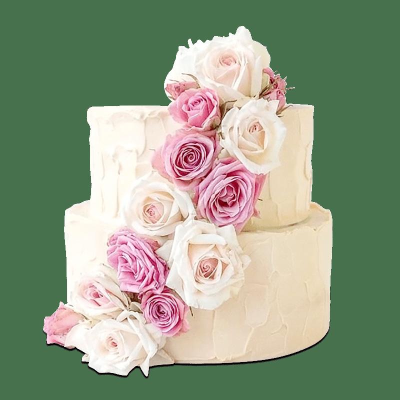 Торт свадебный с живыми цветами №2009