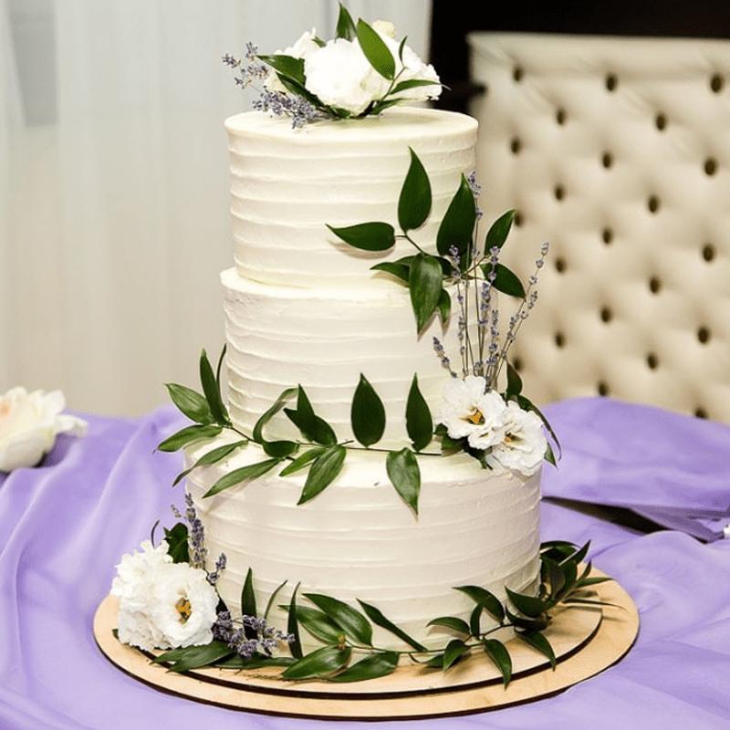 Торт свадебный с живыми цветами №2011