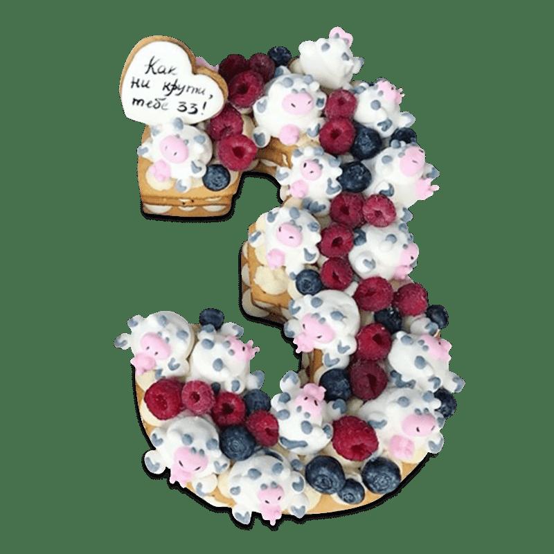 """Торт детский """"Фруктовая цифра"""" №2021"""