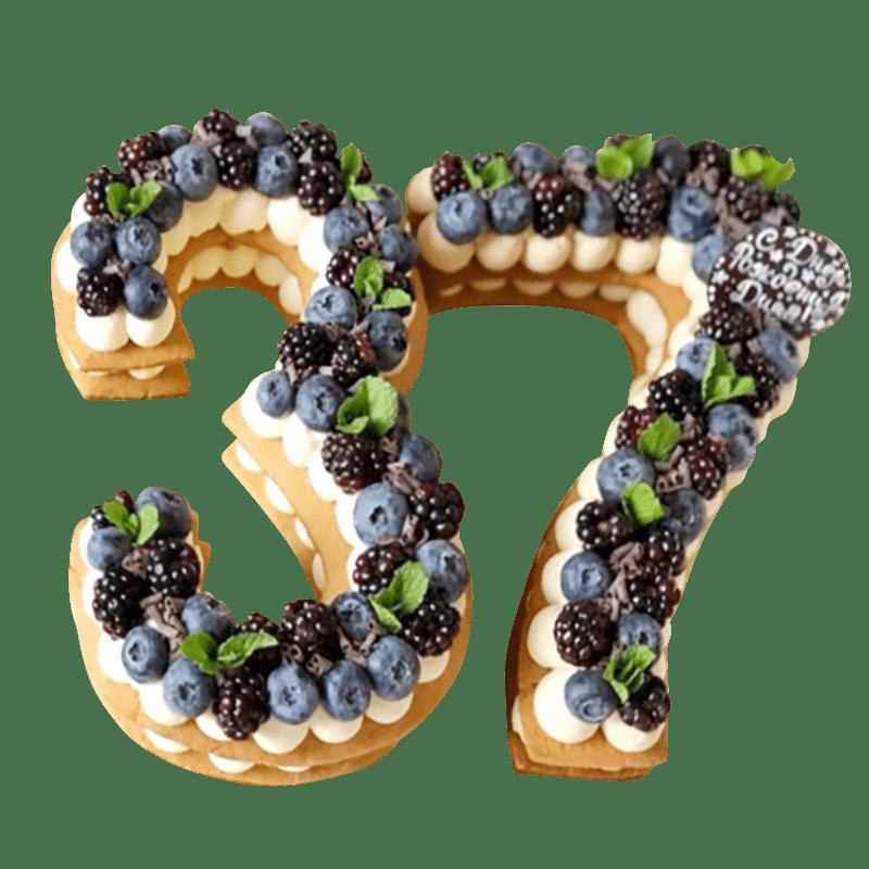 """Торт на день рождения """"Фруктовые цифры"""" №2030"""
