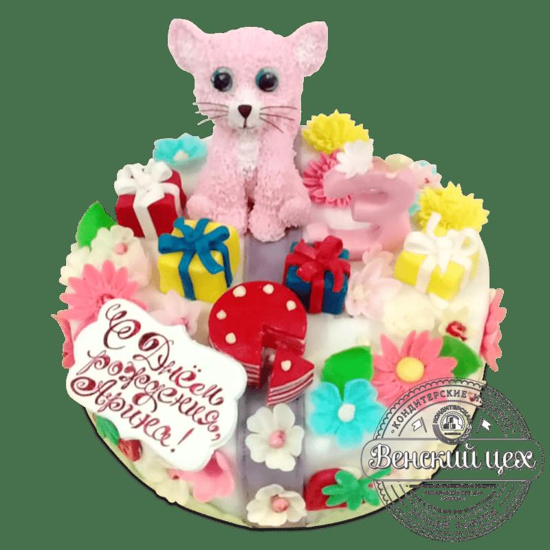 """Торт детский """"Розовый котенок"""" №2032"""