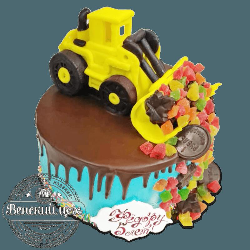 Торт детский «Экскаватор с цукатами» №2037