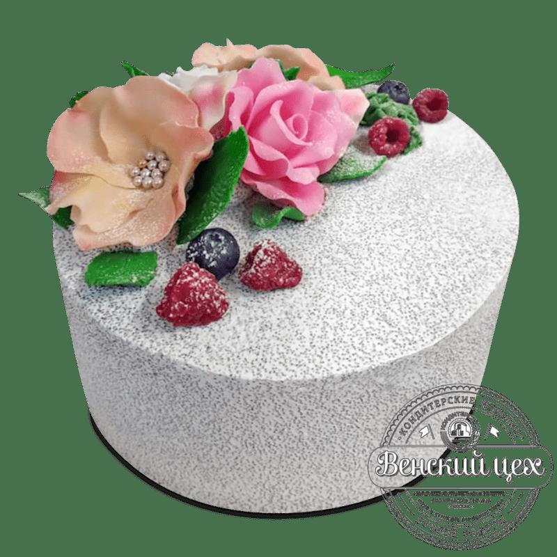 """Торт на день рождения """"Цветы на снегу"""" № 2038"""