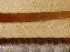 Легкий мусс на основе ликера Бейлис и бельгийского шоколада с прослойкой вафельной крошки, ореховым пралинэ и конфи