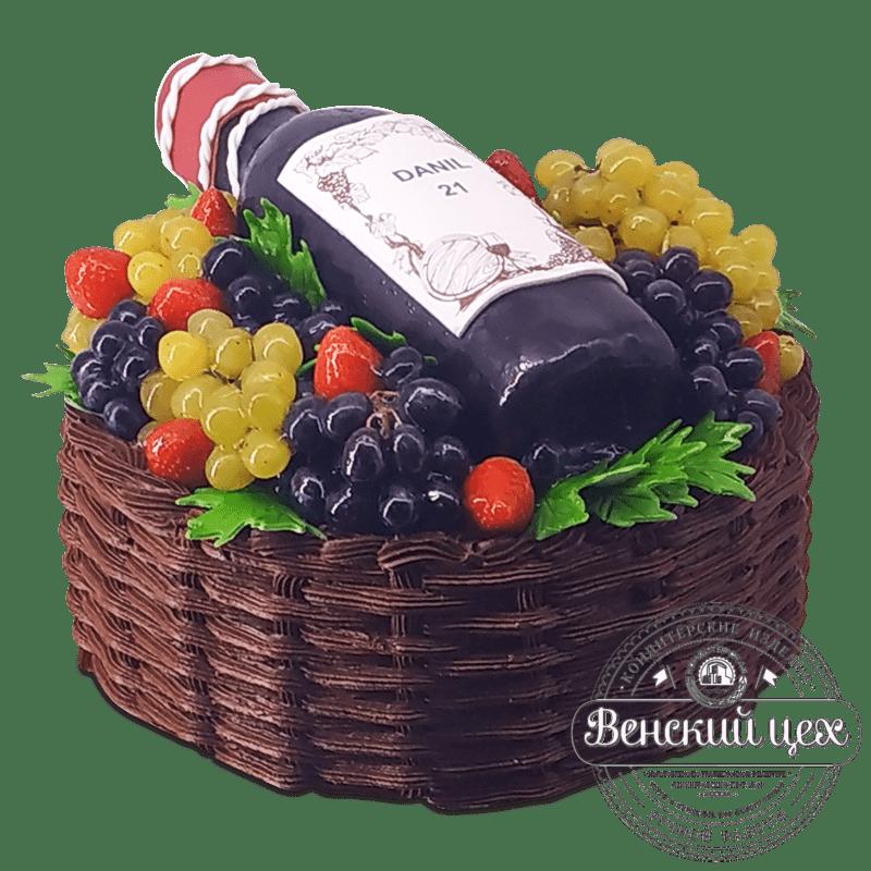 """Торт """"Корзинка для пикника с бутылкой"""" №2077"""