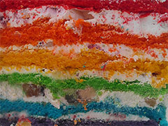 РАДУЖНЫЙ - разноцветные коржи прослоенные йогуртово-ванильным кремом. Идеально при высоте коржей 10-12 см или нужно выбрать цвета.